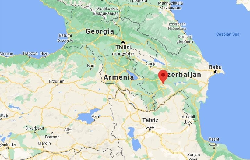 Ermenistan'ın saldırdığı bölgelerden biri de kırmızıyla gösterilen Ağdam.
